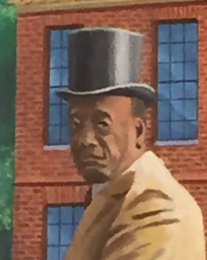 A painting of an African American man wearing a top hat