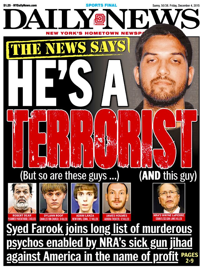 Front page of the Daily News regarding Syed Farook