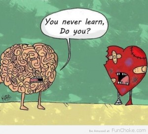 A brain and heart cartoon speaking to each other