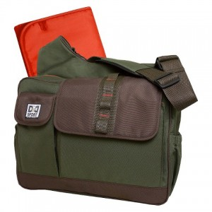 A green mens diaper bag.
