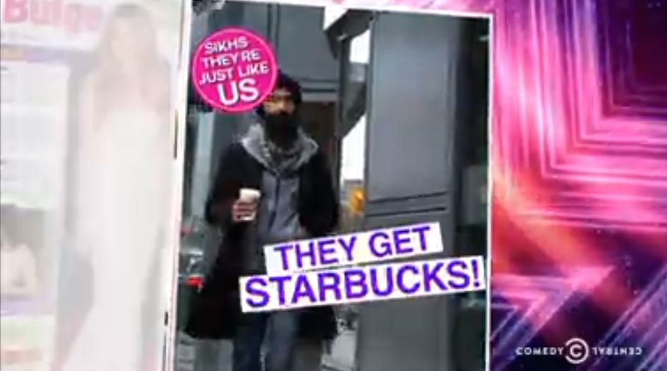 A picture of Sikh getting Starbucks