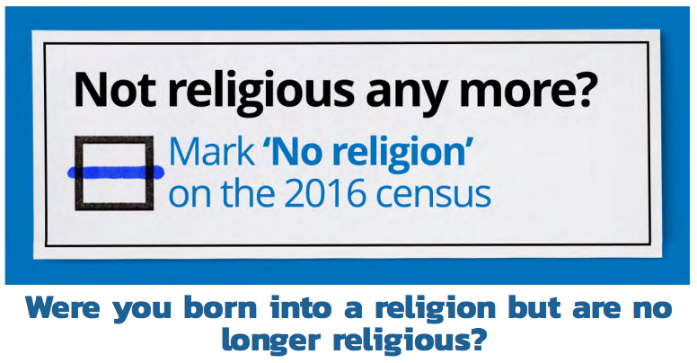 An advertisement on the Census for people who were once religious but now are not