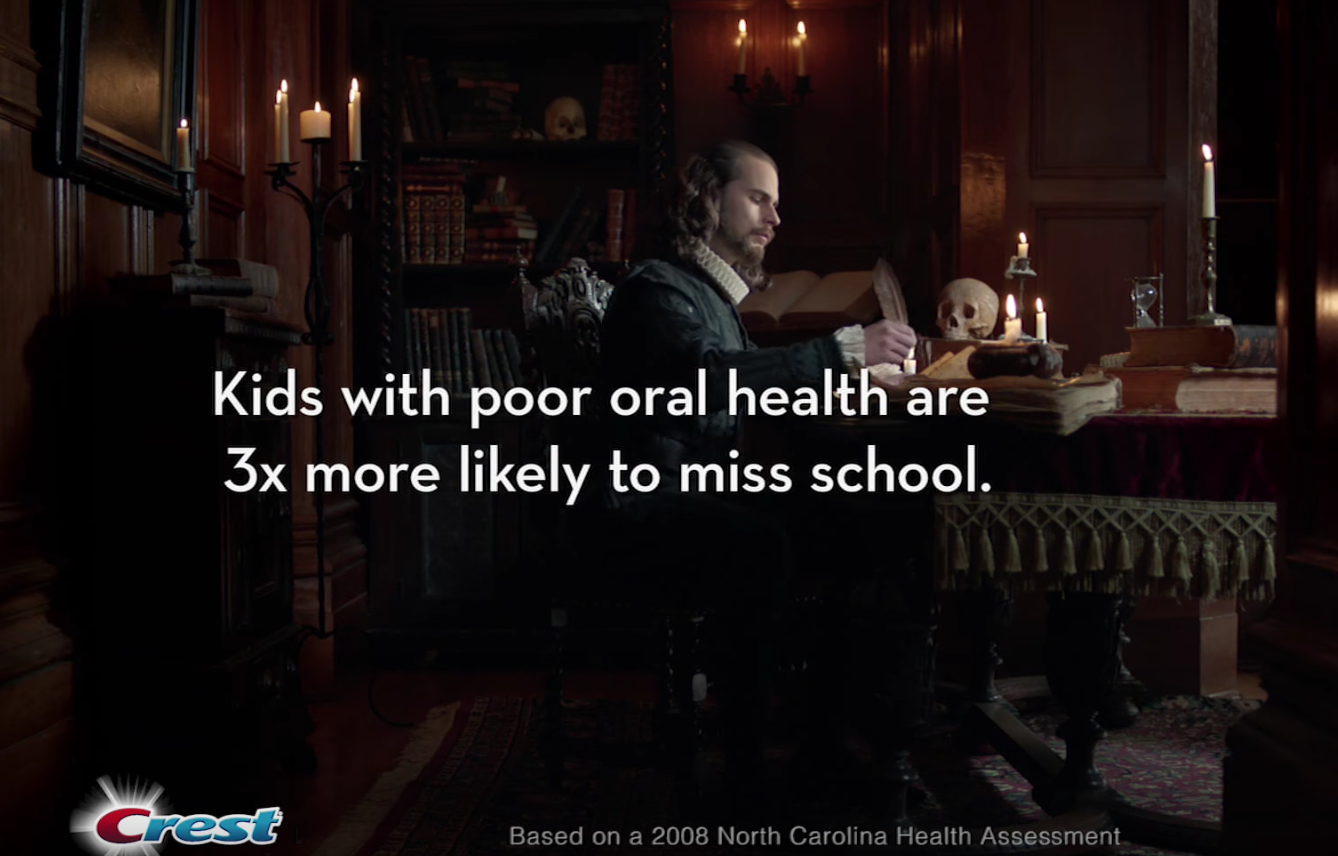 "screen shot of Crest ad reading ""Kids with poor oral health are 3x more likely to miss school"""