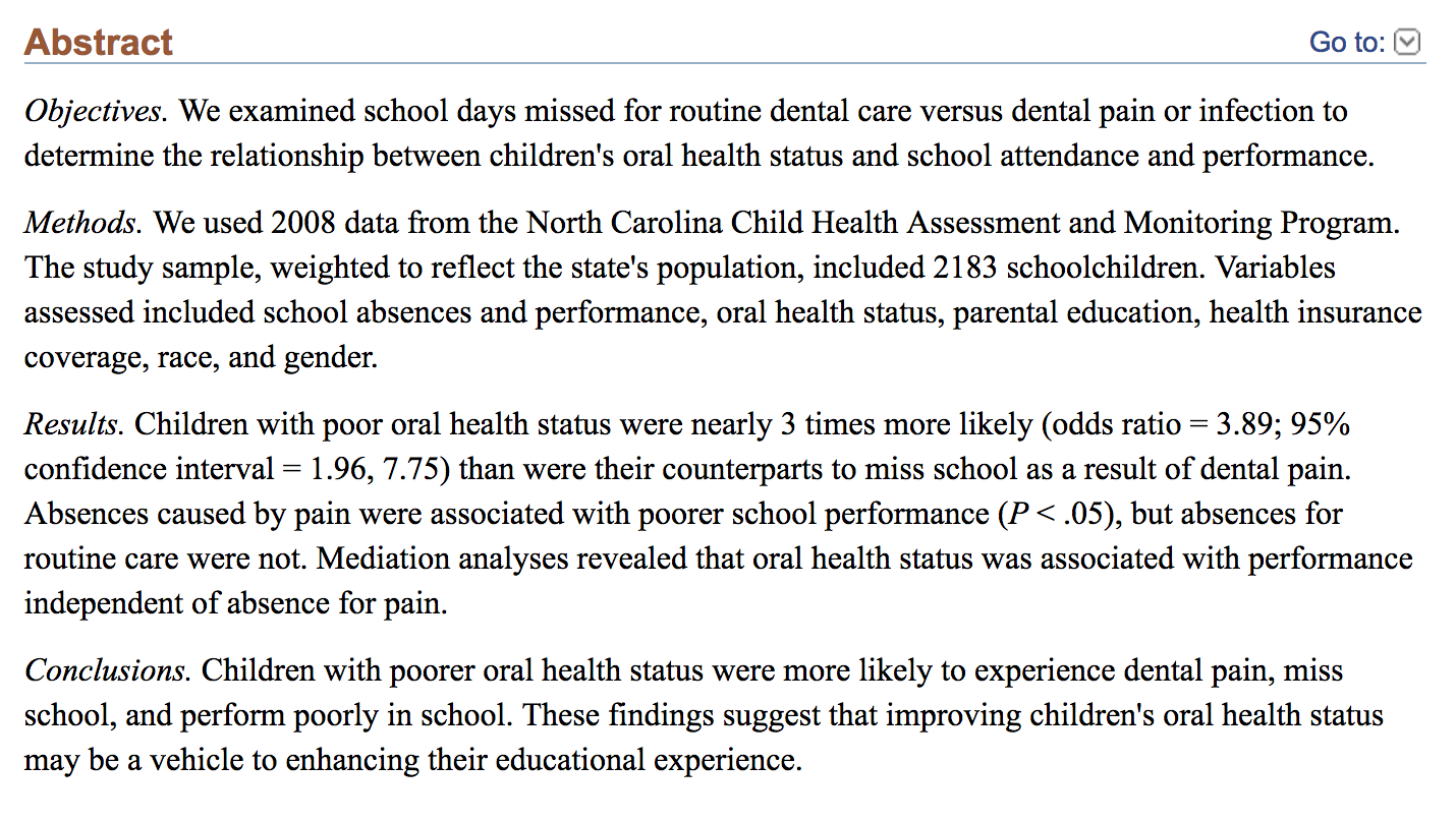 A screen shot of an Abstract about school and health care