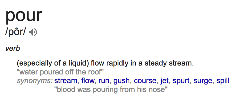 A screenshot of the definition of pour