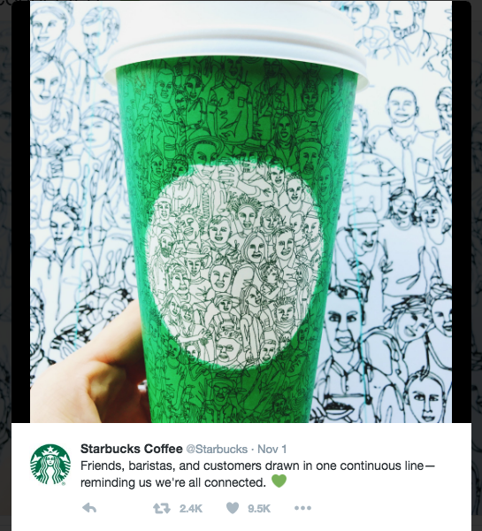 An image of a Starbucks tweet