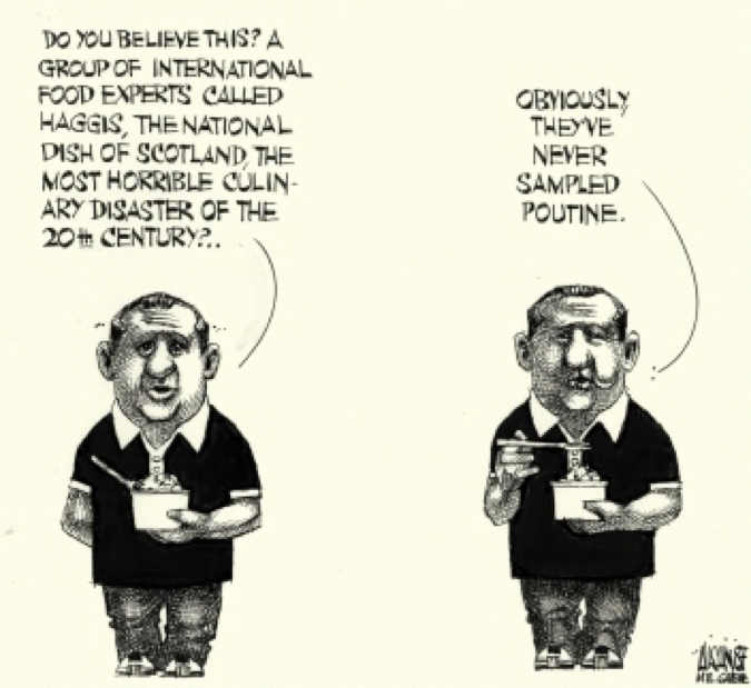 An image of a cartoon politicizing poutine