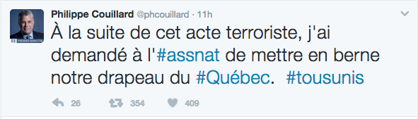 An image of Philippe Couillard's tweet about Quebec terrorist attack