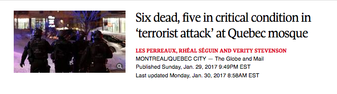 An image of a news headline regarding a terrorist attack in Quebec