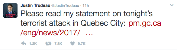 An image of Justin Trudeau's tweet regarding the terrorist attack in Quebec