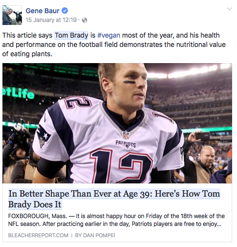 A screenshot of an article about Tom Brady being vegan most of the year