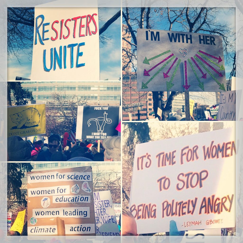 various posters from a women's rights march