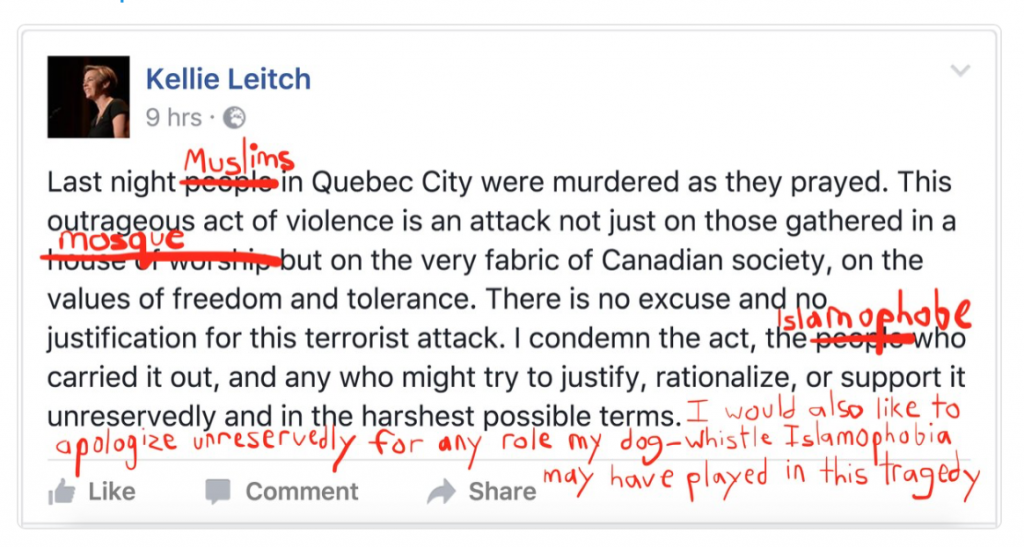 An image of Kellie Leitch facebook post about murders in Quebec