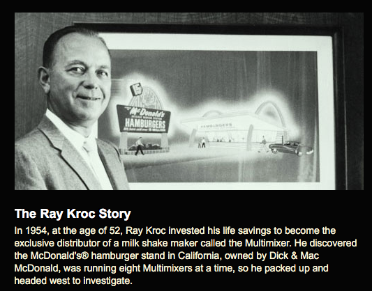 An image of a picture and a biography of Ray Kroc