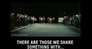 "An image of people standing in different boxes and the words ""There are those we share something with.."""