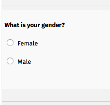 An image of a gender question with the options female or male