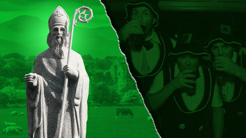 An image of St Patrick and men celebrating St Patrick's Day
