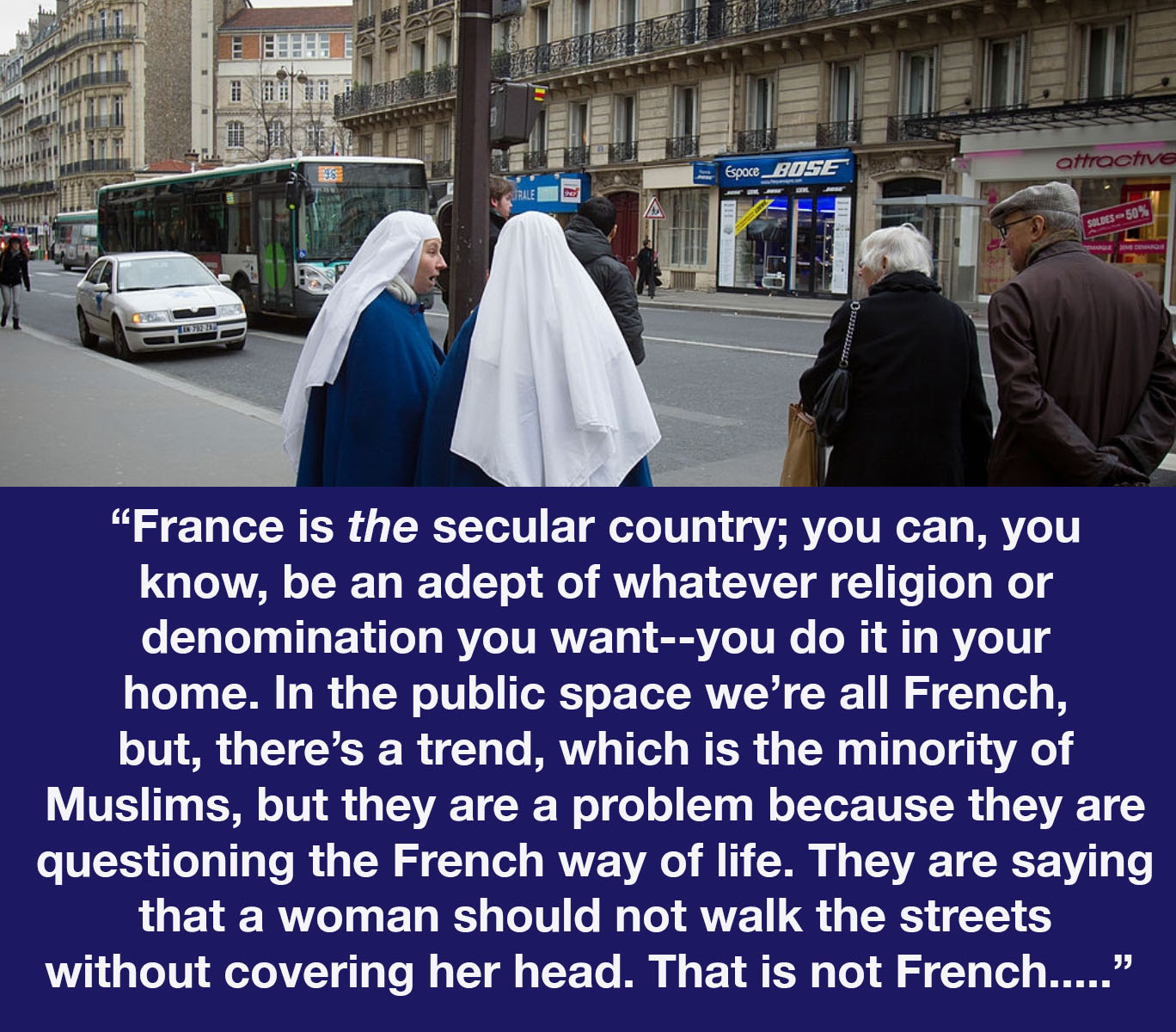 An image of nuns in Paris with a quote