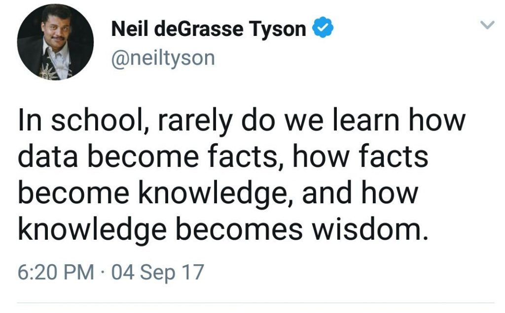 An image of Neil deGrasse Tyson's tweet data, facts, and wisdom