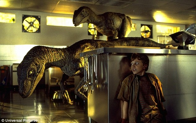 An image of a young boy hiding from dinosaurs