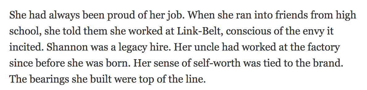 quote from the NY Times article on a worker taking pride in her work