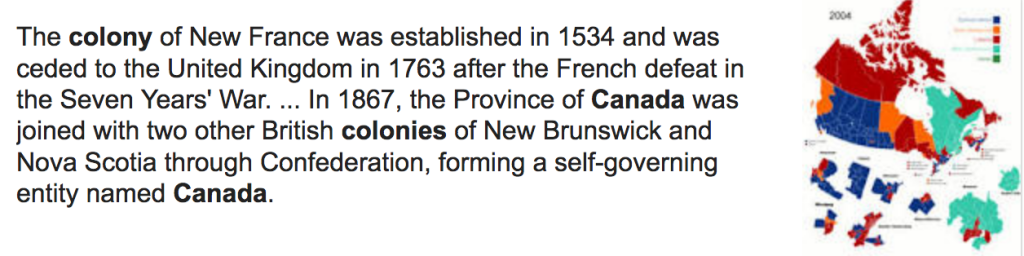 A screenshot of a paragraph about the colony of New France