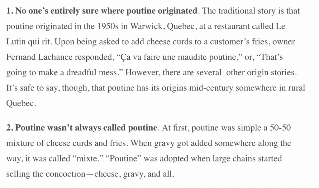 A screenshot of facts about poutine from the internet