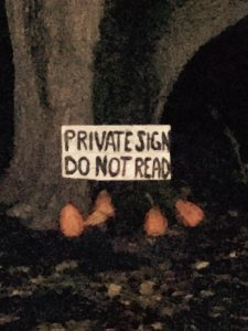 A sign on a tree that says