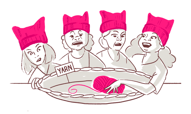 An image of 4 cartoon women with pink winter hats and yarn