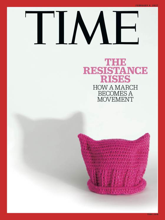 "Time magazine cover reading: ""The resistance rises: how a march becomes a movement"""