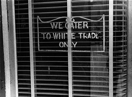 White Trade Only sign in Ohio restaurant 1938