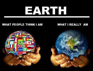 An image of two different ways people look at Earth