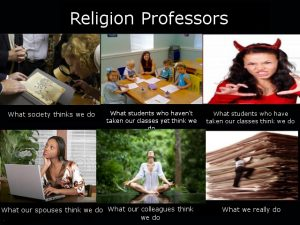 An image of what people think religion professors do and don't do