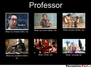 An image of what people think Professors do and don't do