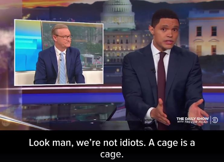 An image of Trevor Noah on The Daily Show