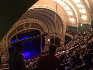 photo from high up in a theater aimed down to the stage