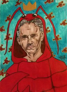 drawing of JP in a lobster suit