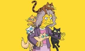 a simpson character holding many cats