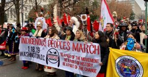 An image of a group of people at the Indigenous People March in Washington, D.C.