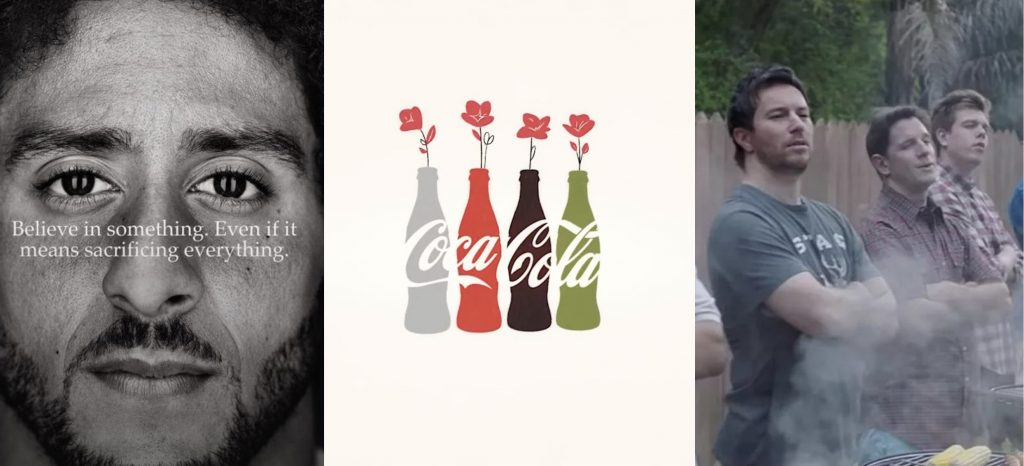 A side by side by side image of Colin Kaepernick, a Coca Cola ad, and three men barbecuing