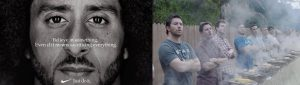 A side by side image of Colin Kaepernick and men barbecuing