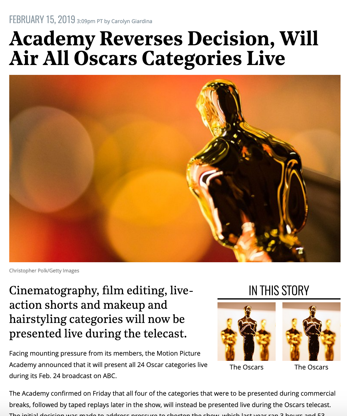 "screenshot of news article reading ""Academy reverses decision, will air all oscars categories live"""