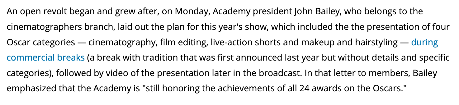 A screenshot of Academy president John Bailey discussing the Oscars