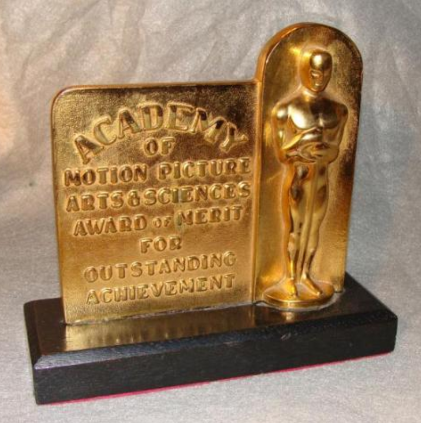 A screenshot of the Academy of Motion Picture Arts & Sciences Award of Merit for Outstanding Achievement