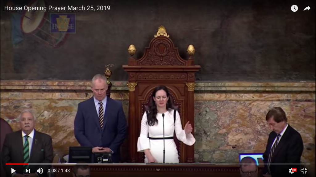 screenshot of a youtube video of the House Opening Prayer on March 25, 2019