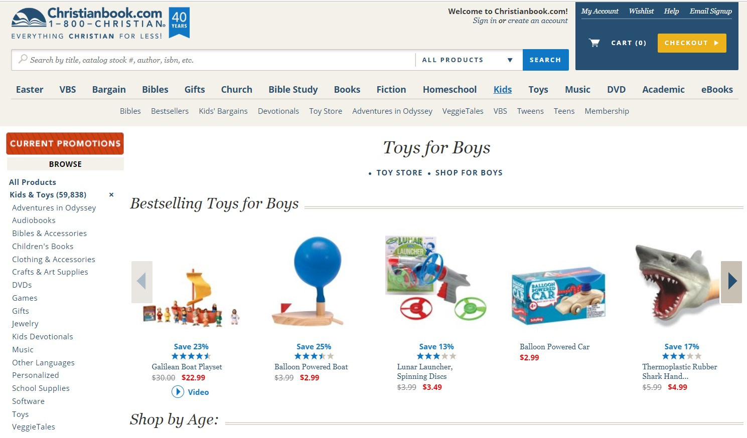 A screenshot of the website Christianbook.com (Toys for Boys)