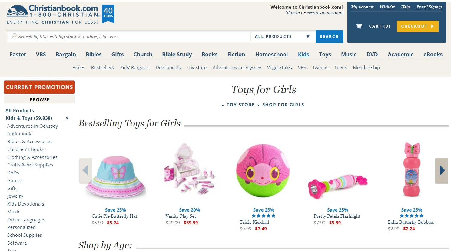 A screenshot of the website Christianbook.com (Toys for Girls)
