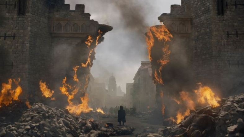 A picture of buildings burning in Game of Thrones