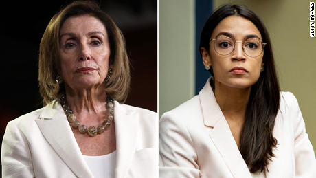 headshots of Pelosi and AOC