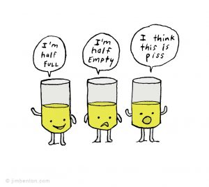 """Images of glasses representing, """"I'm Half Full"""", """"I'm Half Empty"""" and """"I think this is piss"""""""
